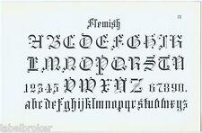 ANTIQUE PRINT VINTAGE 1877 ENGRAVING TYPOGRAPHY FLEMISH LETTERING TATTOO