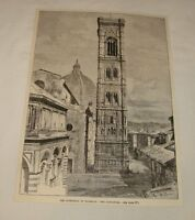 1887 magazine engraving ~ THE CAMPANILE, Florence, Italy