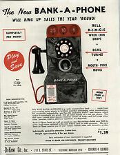 1947 PAPER AD Toy Bank A Phone DuKane Co Wall Pay Phones Coin Coins