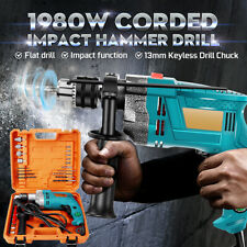1/2'' 1980W Hammer Impact Variable Electric Corded Drill Chuck 3800rpm High