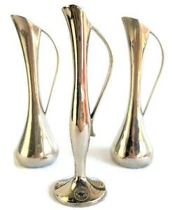 """Tall  Modern Silver Metal Vase Karim Rashid Design 1994 #61 Nambe Studio 11"""""""