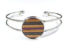 RECYCLED SKATEBOARD Wooden Open Ladies Cuff Bracelet Bangle Charm Wood Bangles