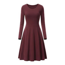 99bd9a78217 Women O-neck Long Sleeve High Waist Swing Skater A Line.