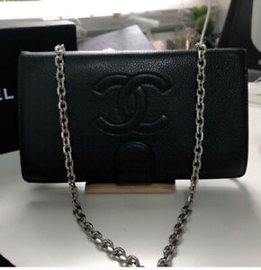 Vintage Chanel Wallet On Chain Black Leather With Chain Strap