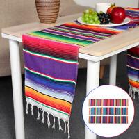 84x14'' Mexican Serape Table Runner Tablecloth Cotton Festival Home Party Decor
