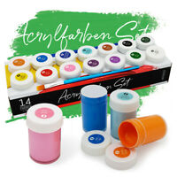 Acryl Farben Set Künstlerfarben mit Pinsel 14 Acrylfarben x 18 ml int!rend
