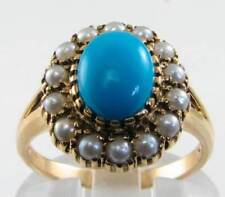 LARGE 9K 9CT GOLD PERSIAN TURQUOISE  & PEARL ART DECO INS CLUSTER RING