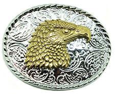 Eagle Head Fibbia della Cintura American Western Ottone Massiccio Autentico Baron Buckles