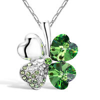 Lucky Crystal Four Leaf Clover Heart Pendant Necklace Charm Chain Fast