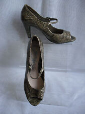 WOMENS MARKS & SPENCER GREY SYNTHETIC  PEEP TOE SHOES  SIZE:4.5/37.5(WHS194)