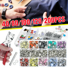 100/200pcs Metal Snap Fasteners Kit Press Stud Leather Clothes Buttons Sets Tool