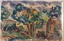 American Regionalist watercolor ca 1940's unidentified signed
