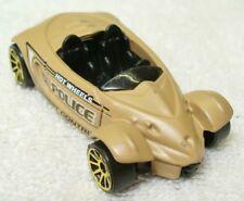 2001 HOT WHEELS-Tan-Diecast Hyundai Spyder Concept Police Car-Malaysia LN4-6D