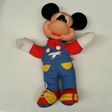 Mickey Mouse Learn To Dress Me Overalls Plush Hard Head Doll - 1989 Mattel