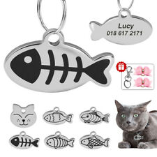 Cat Tags Personalized Pet Id Name Address Engraved Small Fish for Collar Harness
