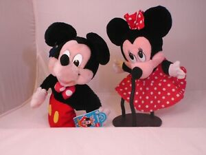 """Mickey & Minnie Mouse Plush 10"""" Hand Puppet Toy Mattel 1993 & Applause With Tag"""