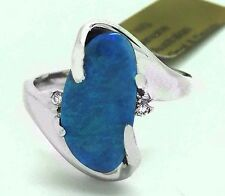 NATURAL 2.87 Cts AUSTRALIAN OPAL & DIAMONDS RING 14K WHITE GOLD *Free Appraisal