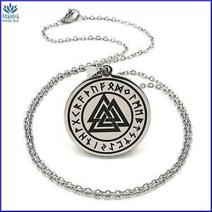 Amuleto talismano ciondolo celtico Valknut Odino con collana da uomo in acciaio