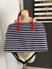Kate Spade Navy Blue White Stripe Laptop Office Travel Shoulder Bag Purse Case