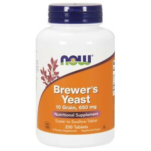 Now Foods Brewer's Yeast 650 mg - 200 Tablets FRESH, FREE SHIPPING, MADE IN USA