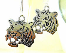 "New  Excellent two-sided  TIGER  Head  Silver-tone Dangle Earrings   1-7/8"" long"