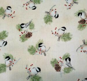 "34"" Christmas Bird Songs Sandy Lynam Clough P&B Bird Chicadee Beige"