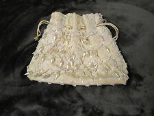 Vintage La Regale LTD. Off-White Satin Beaded Drawstring Evening Handbag/Purse