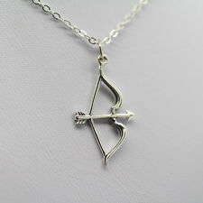 BOW AND ARROW NECKLACE - 925 Sterling Silver - Archery Charm Pendant Jewelry NEW