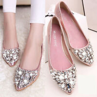 Womens Ladies Flat Heel Rhinestone Crystal Sequins Pointy Toe Pumps Sandal Shoes