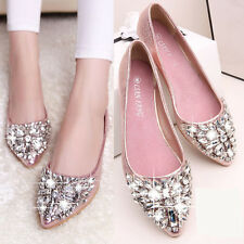 Womens Ladies Flat Heel Rhinestone Crystal Sequins Pointy Toe Pumps Sandal Shoes