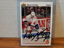 1991-92 Upper Deck Los Angeles Kings Signed Wayne Gretzky Canada Cup #13 COA