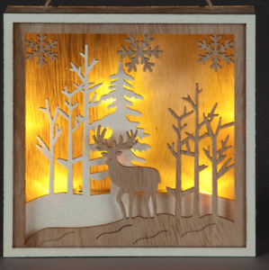 Christmas Rustic Wall Art 6 LED Wooden Winter Forest with Reindeer 15cm Square