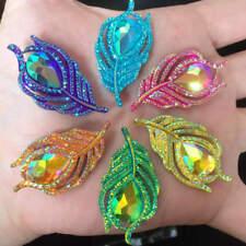 New 10PCS AB Resin 3D Peacock feathers Flatback rhinestone wedding DIY buttons