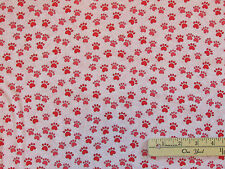 Miss Kitty's Colors Pink Animal Cat Dog Paws Fabric by the 1/2 yd #6411