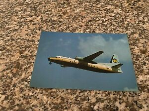 East West Airlines Australia Fokker F-27 takeoff from Sydney Airport postcard