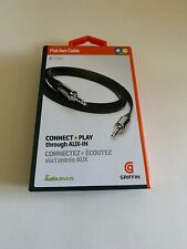 GENUINE GRIFFIN AUXILIARY AUDIO CABLE 3FT FLAT IPHONE IPOD BLACK