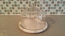 Vintage Round Glass Domed Marble Cheese Tray Server Appetizer/Dessert Display