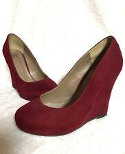 Women's RED Suede Wedge Heel Shoe Size 6