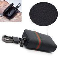 Black Leather Car Smart Key Case Remote Bag Key Chain Holder Zipper Pouch Superb