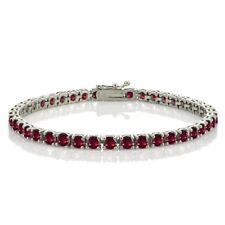 Sterling Silver 10.8ct Created Ruby 4mm Round Tennis Bracelet
