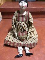 ESC Trading Company Sharon Andrews Primitive Folk Art Friends Doll EUC