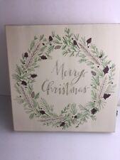 PBK LED Merry Christmas Box Sign Wooden 14 x 14 Glitter Pinecones Light Up