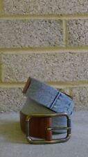 Dolce & Gabbana Distressed Denim and Tan Leather Belt with Antiqued Brass buckle