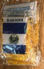 """1 Dozen /12 Piece El Salvador 🇸🇻 Mini Flag 4""""x6"""" Window Banner w/ suction cup"""