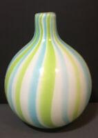 "Beautiful Hand Blown Art Glass Vase~Round~White~Teal~Green~Blue~7"" tall~Ball"