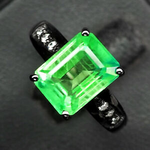 EMERALD GREEN OCTAGON 5.90 CT. SAPPHIRE 925 STERLING SILVER BLACK RING SZ 6.75