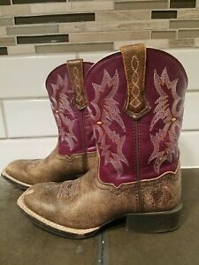 Toddler girls Ariat leather pull on cowboy boots size 12, purple/brown