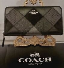 NWT COACH BLACK GUNMETAL MULTI Patchwork Leather Accordion Zip Wallet 55674