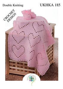 UKHKA 185 Baby Crochet Heart Blanket & Bootees in DK