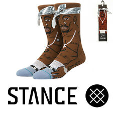 Stance Anthem Socks Men's Tupac 2pac Crew Socks Brown Hip-Hop Rap Tupac Shakur